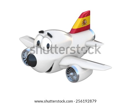 Cartoon airplane with a smiling face - Spanish flag - stock photo