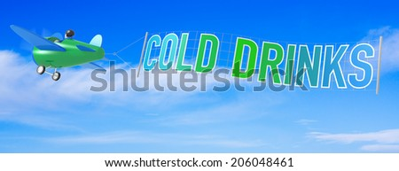 Cartoon Airplanes with Cold Drink Banner. - stock photo