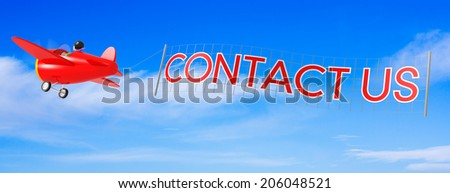 Cartoon Airplanes with Contact us Banner. - stock photo