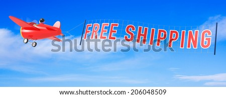 Cartoon Airplanes with Free Shipping Banner. - stock photo