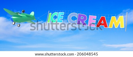 Cartoon Airplanes with Ice Cream Banner. - stock photo
