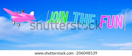 Cartoon Airplanes with Join The Fun Banner. - stock photo