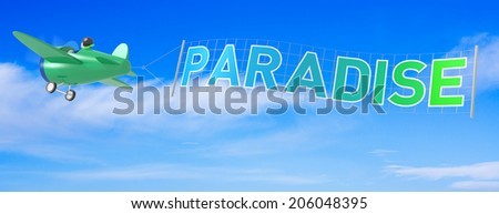 Cartoon Airplanes with Paradise Banner. - stock photo