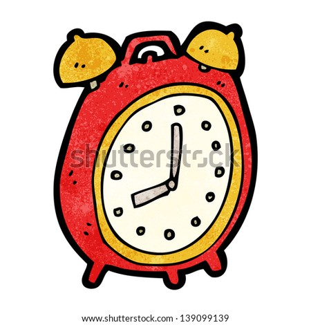 cartoon alarm clock - stock photo