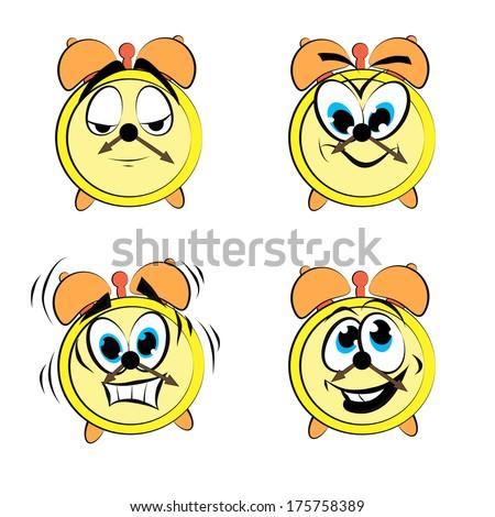 Cartoon alarm clock ikons - stock photo