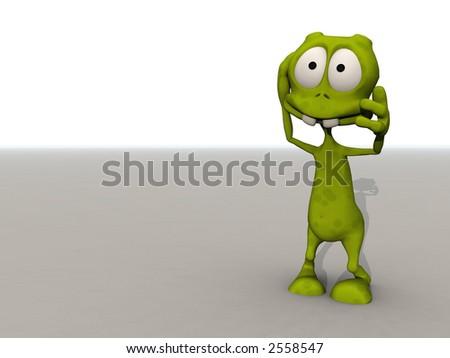 cartoon alien grasps his head in shock - stock photo
