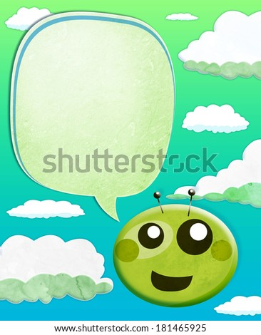 Cartoon Alien kid with balloon text over sky background