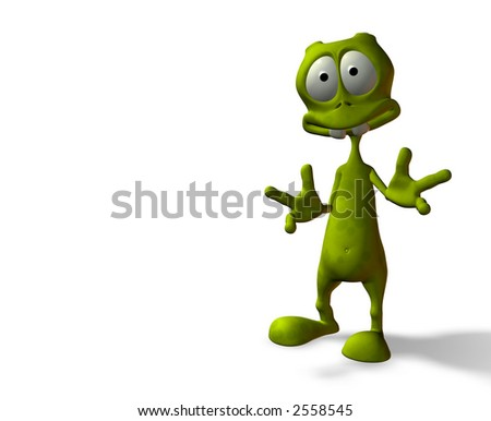 cartoon alien with surprised expression w/ clipping mask