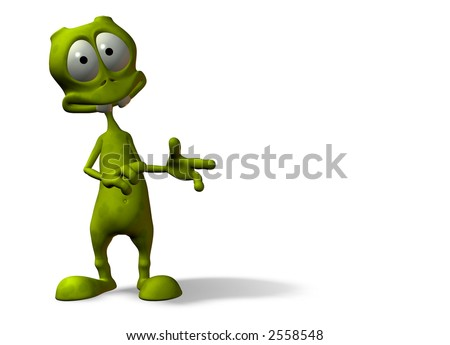 cartoon alien with surprised expression w/ clipping mask - stock photo