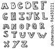 cartoon alphabet - stock photo