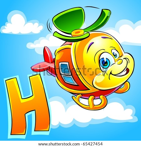 Cartoon alphabet. H is for Helicopter.