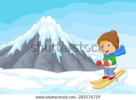 Cartoon alpine skier races extreme hill with iceberg  - stock photo