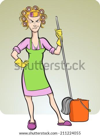 cartoon angry housewife - stock photo
