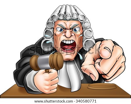 Cartoon angry judge cartoon character screaming and pointing - stock photo