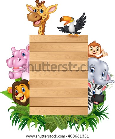 Cartoon animal africa with wooden sign - stock photo