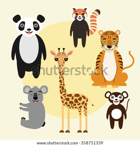 Cartoon animal characters. Kids illustration. Panda, tiger, giraffe, koala, monkey, red panda.  - stock photo