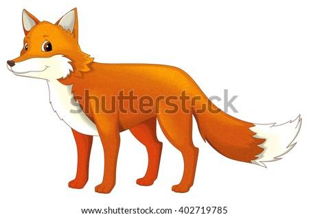 Cartoon animal - fox - isolated - illustration for children - stock photo