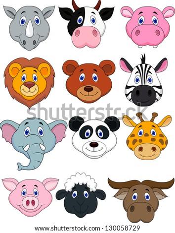 Cartoon animal head icon - stock photo