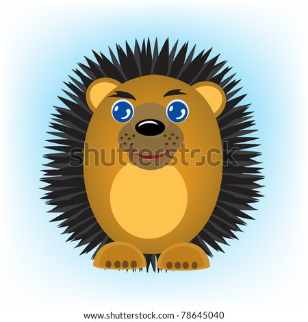 Cartoon animal hedgehog on turn blue background - stock photo