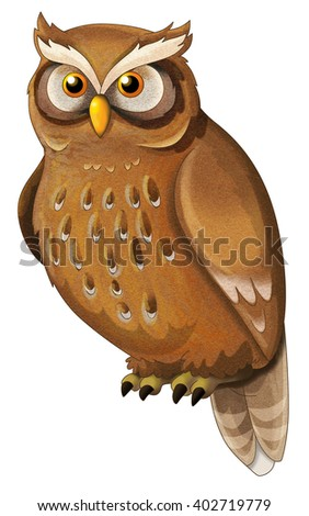 Cartoon animal - owl - isolated - illustration for children - stock photo