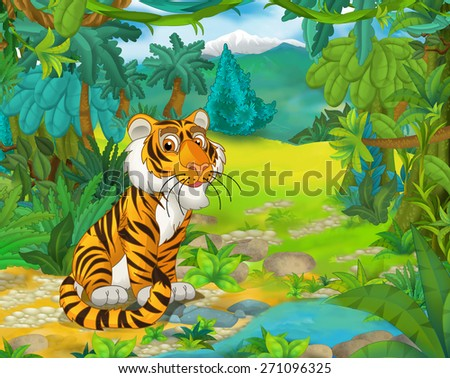 Cartoon animal scene - caricature - tiger - illustration for the children - stock photo