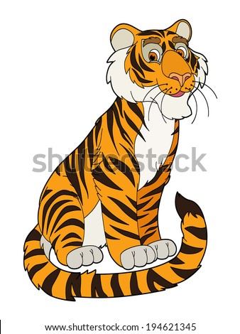 Cartoon animal - tiger - flat coloring style -  illustration for the children
