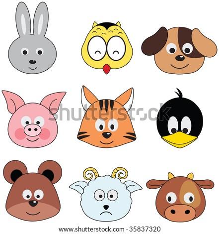 cartoon animals greeting sticker (series) - stock photo