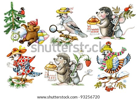 Cartoon animals. Set of hand drawn cartoon animals and birds: hedgehog, mouse, jay. Objects isolated on layers. - stock photo