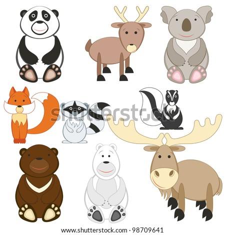 Cartoon animals set on white background (raster version) - stock photo