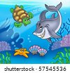 Cartoon animals underwater - color illustration. - stock vector