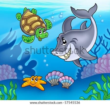 Cartoon animals underwater - color illustration. - stock photo