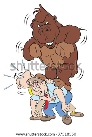 cartoon art of a huge gorilla on a man; 's back and another man trying to help out.  Hey, get this 800 pound gorilla off my back! - stock photo