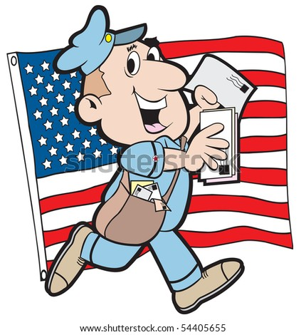 cartoon art of a postman with the American flag in background. Elements art separate.