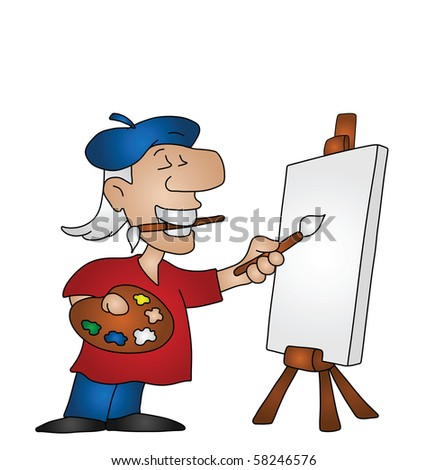 Cartoon artist with copy space on canvas for own text or image - stock photo