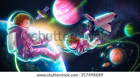 Cartoon astronaut couple boy and girl are flying in space for universe exploration and adventure with space shuttle satellite earth planet and stars in the background for children education concept