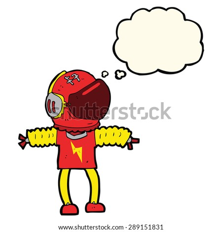 cartoon astronaut with thought bubble - stock photo