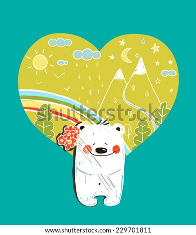 Cartoon Baby Bear with Nature Heart Background and Flowers. Hand drawn simple childish bear in nature. Raster variant. - stock photo
