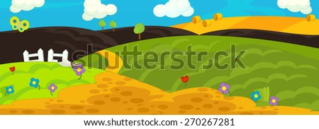 Cartoon background - field - illustration for the children