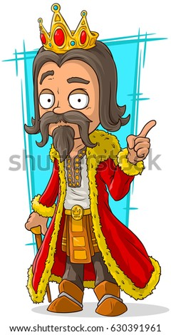 Cartoon bearded long haired king in red coat with gold crown and stick illustration