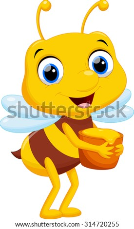 Cartoon bee bring a bucket of honey
