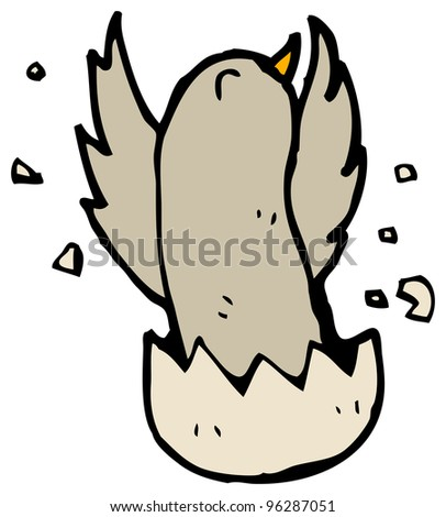 cartoon bird chick breaking out of egg