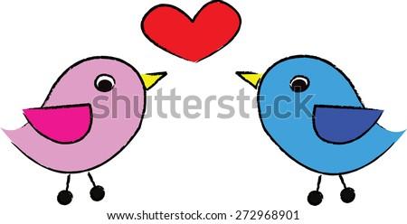cartoon bird love. - stock photo