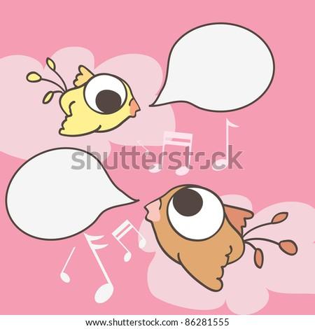 Cartoon birds with speech bubble on pink background - stock photo
