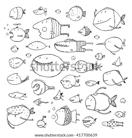 Cartoon Bizarre Fish Collection for Kids Hand Drawn Black Outline. Fun cartoon hand drawn queer fish for children design illustrations set. Pencil sketch style. Raster variant.