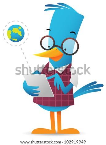 Cartoon Blue Bird browsing using tablet - stock photo