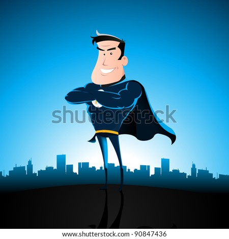 Cartoon Blue Super Hero/ Illustration of a cartoon superhero standing with cityscape behind