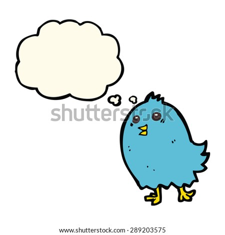 cartoon bluebird with thought bubble - stock photo