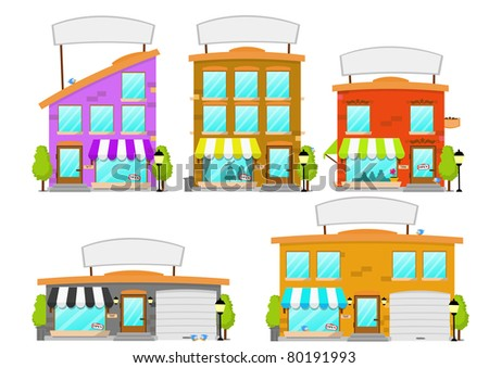 Cartoon Boutique Building Series - stock photo