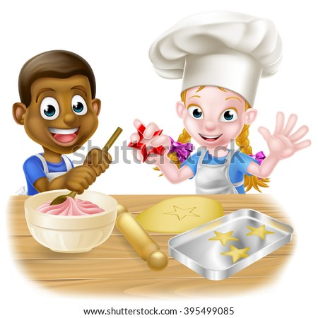 Cartoon boy and girl children, one black one white, dressed as chefs or bakers in aprons baking cakes and cookies - stock photo