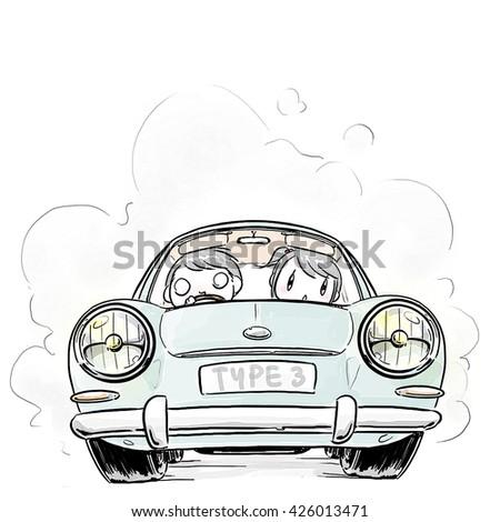 cartoon boy and girl driving classic car - stock photo